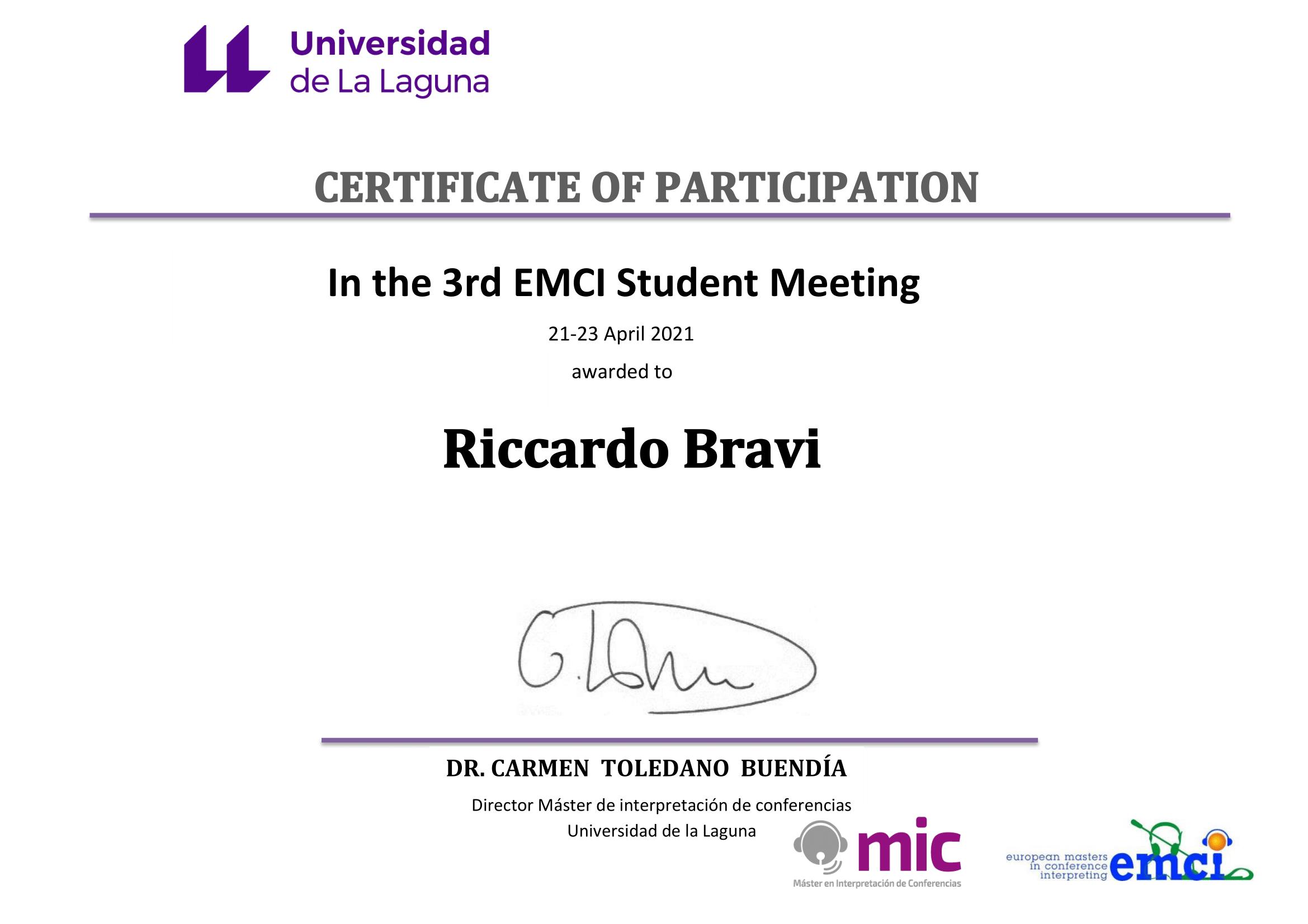 Attestato di partecipazione EMCI Student Meeting